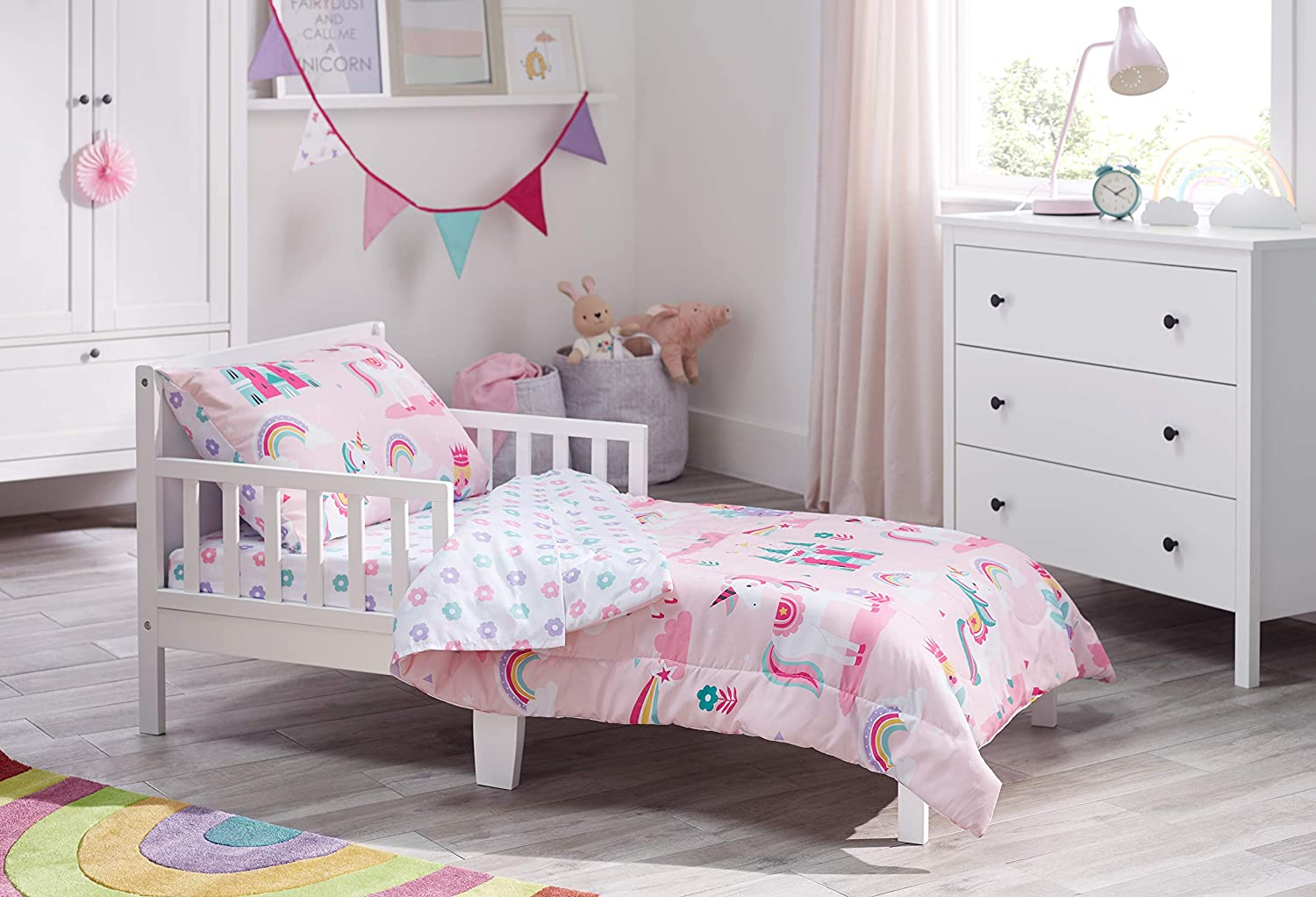 Bloomsbury Mill 4 Piece Toddler Comforter Set Magic Unicorn Fairy Princess Enchanted Castle Pink Kids Bedding Set Kitchen Dining