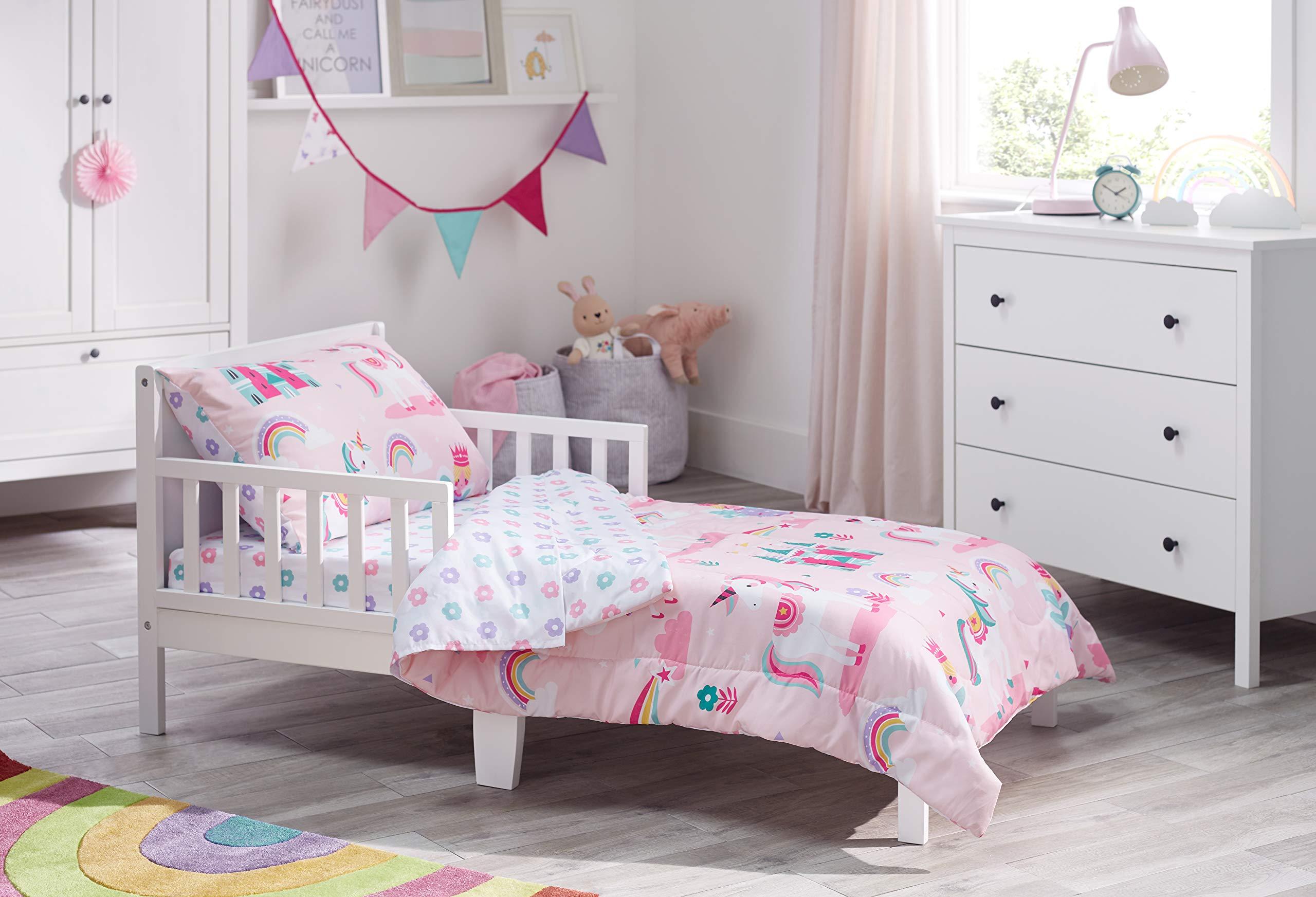 Bloomsbury Mill - 4 Piece Toddler Comforter Set - Magic Unicorn, Fairy Princess & Enchanted Castle - Pink - Kids Bedding Set by Bloomsbury Mill