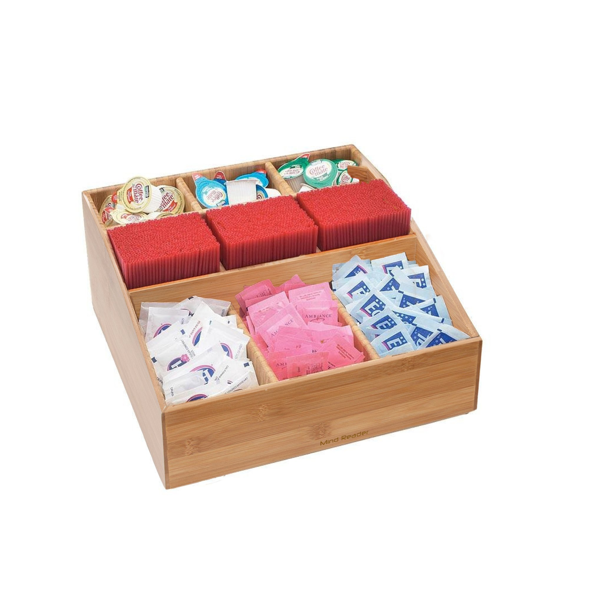 Mind Reader Coffee Condiment and Accessories Caddy Organizer with 9 Organizing Compartments, Bamboo Brown by Mind Reader (Image #2)