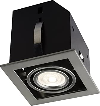 Bazz Slim Square Integrated LED Recessed Light Fixture Kit Warm Dimming Easy Installation 4-in Brushed Chrome Energy Efficient Damp Location