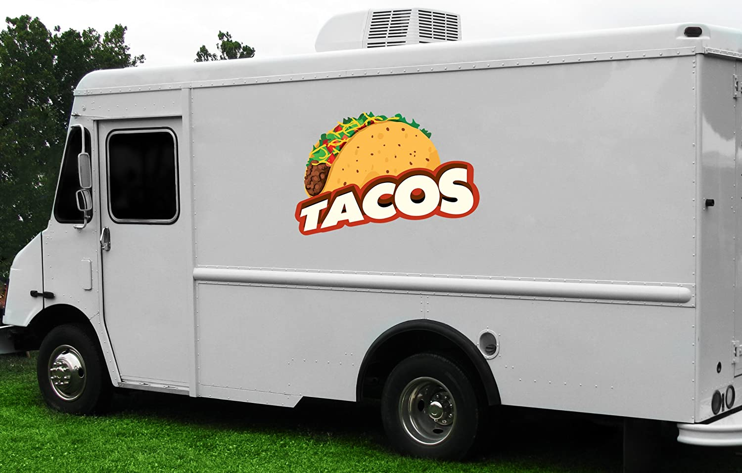 Tacos 8 Concession Decal Sign cart Trailer Stand Sticker Equipment