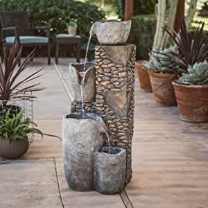 Homelity 4-Tier Rock Water Fountain with LED Lights, Modern Outdoor Four Tiered Fountain, Cascading Water Floor Fountain, 42 Inch High Resin Fiberglass Water Fountain, Relaxing and Soothing