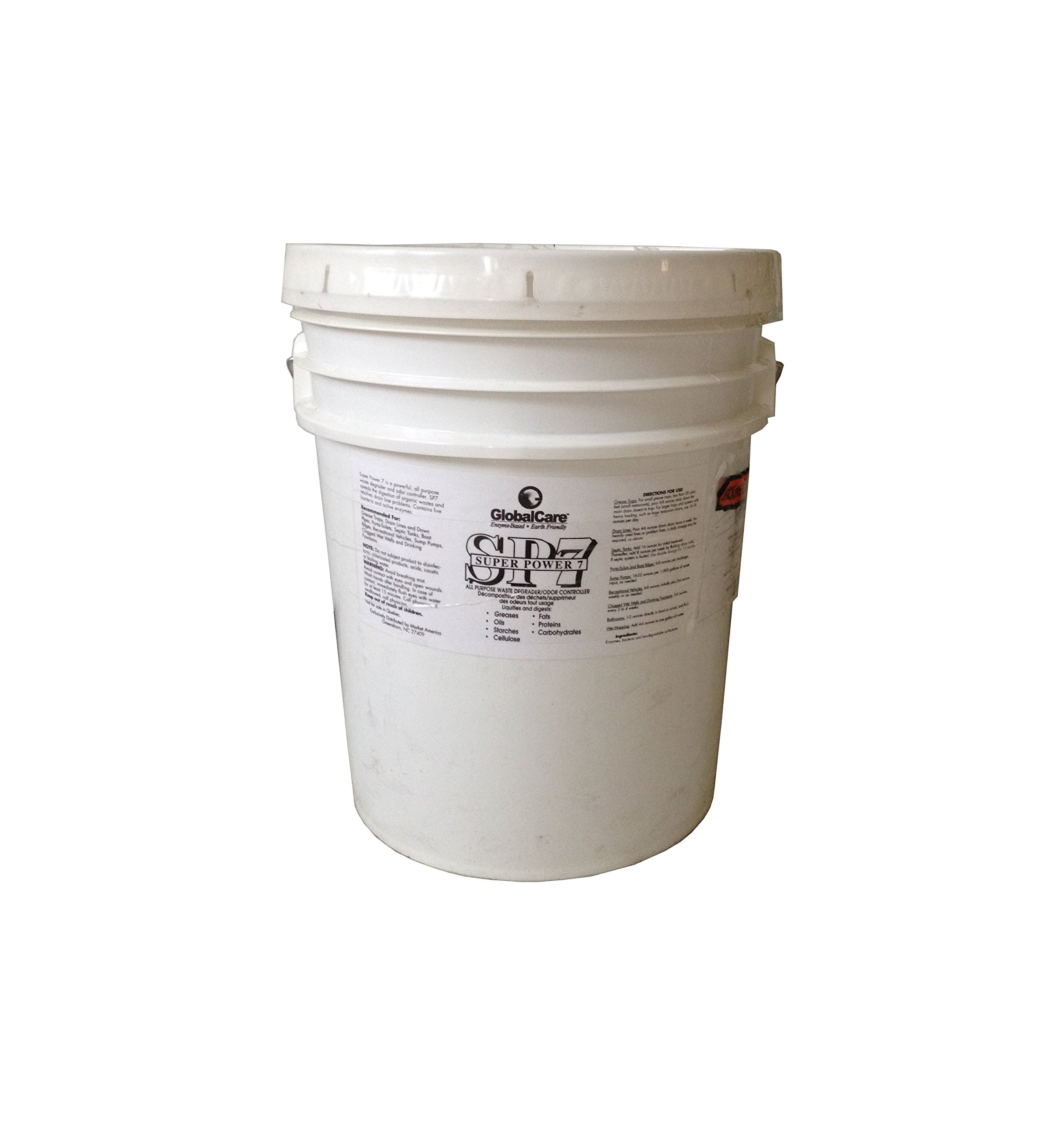 SP7 All-Purpose Degrader & Odor Controller - Super Power 7 (SP7) is an industrial strength organic waste degrader and odor eliminator, GlobalCare produced, containing harmless active enzymes and safe live bacteria that breakdown and liquefy the organic wa