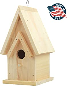 "Unfinished Birdhouse to Paint for Birdwatching with Perch, Natural Wood Pine Frame for Finches and Songbirds, Heavy Duty Outdoor Hanging Use (9.0"")"