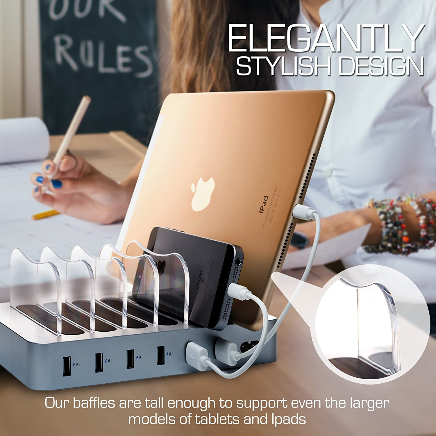 Silver - 6 Short Type-C and Micro USB Cables Included for Cell Phones Smart Phones Tablets and Other Electronics Hercules Tuff Charging Station for Multiple Devices