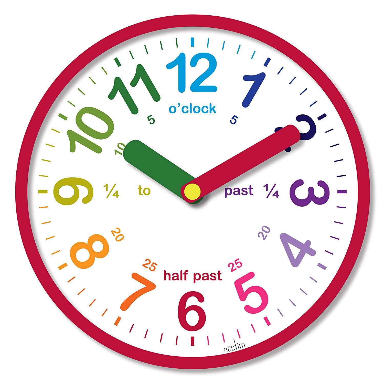 Worksheet Clock Childrens teach the time colourful childrens wall clock red amazon co uk acctim 21884 lulu red