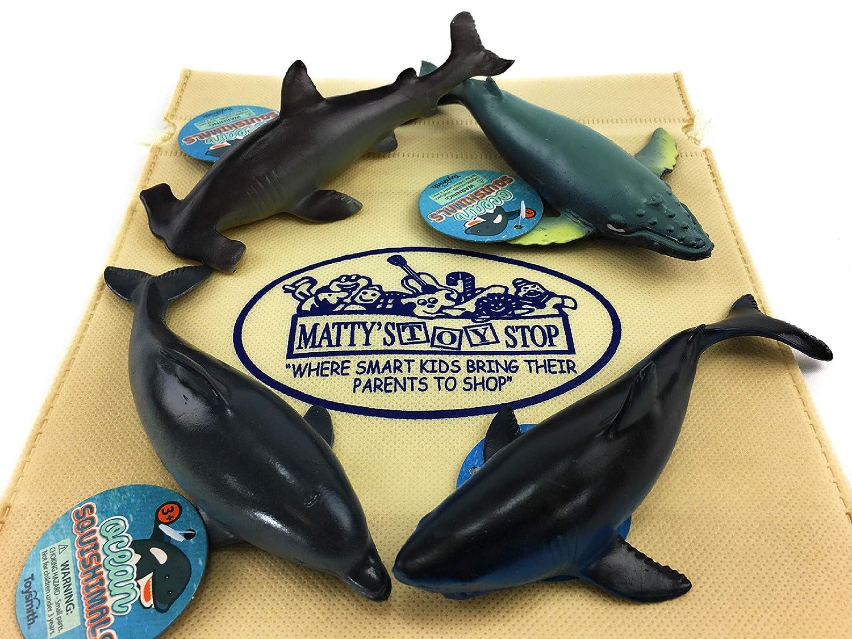 Dolphin Toysmith Ocean Squishimals Shark Humpback Whale /& Hammerhead Shark Gift Set Bundle Bonus Mattys Toy Stop Storage Bag 4 Pack 4 Pack Humpback Whale /& Hammerhead Shark Gift Set Bundle Bonus Matty/'s Toy Stop Storage Bag