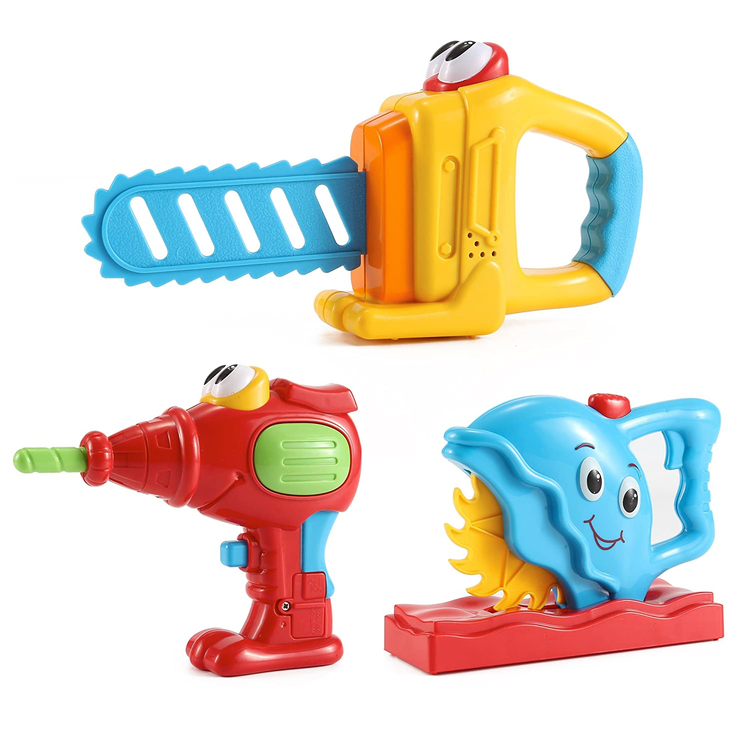 Liberty Imports Cartoon Electronic Handy Power Tools Set with Realistic Action and Sounds for Toddlers (Set of 3)
