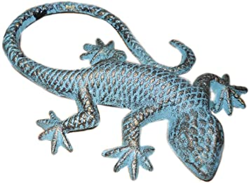 "Cast Iron Lizard Gecko Statue Figurine Cast Iron Rustic Brown 9/"" Long"