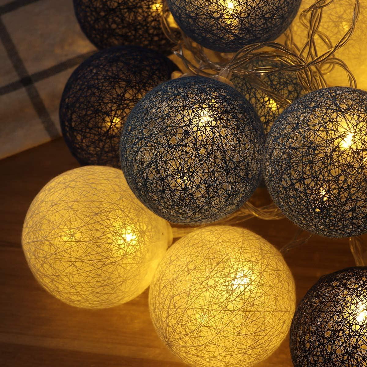 Bola de hilo de algodón Mobestech 3M 20LED Luz de cadena ...