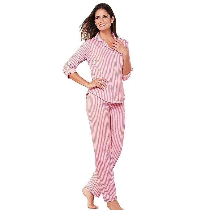 f6598e4c230 VENCA Pijama Chaqueta de Cuello Solapa Cerrada por Botones by  Vencastyle