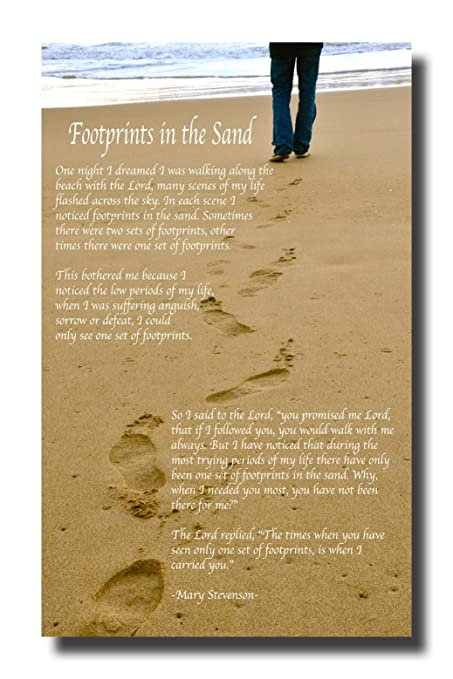 Amazon.com: Inspirational Footprints Poem in the Sand Canvas Wall ...