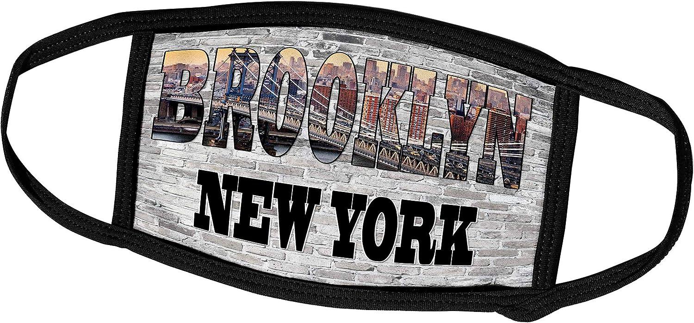 3dRose RinaPiro - Cities Around The World - Brooklyn. New York. Brick Wall. - Face Masks (fm_261451_1)