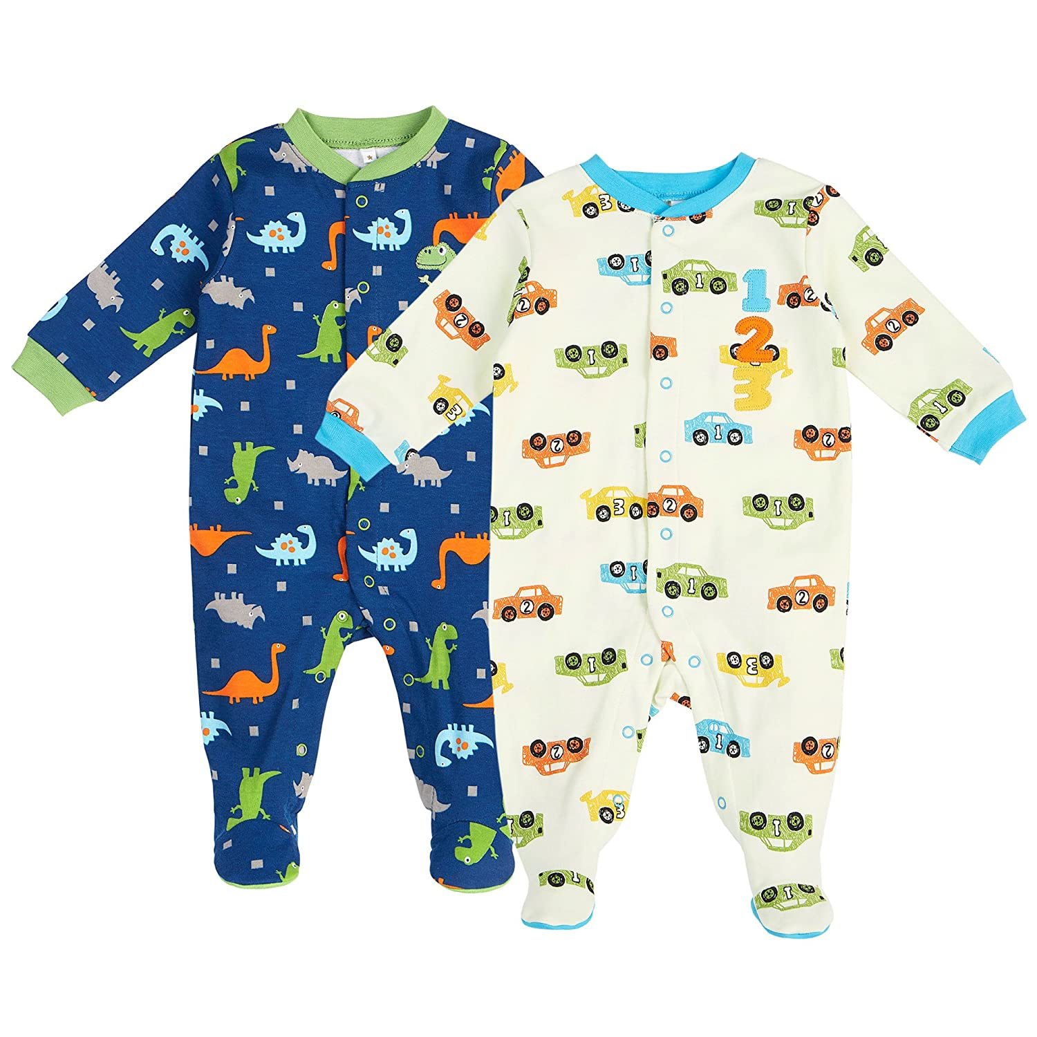 Pekkle Unisex Baby 2-Pack Footed Sleeper, Snap, Sleep & Play Onesie Pajamas