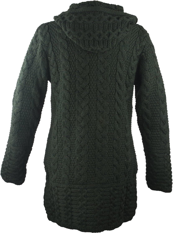 West End Knitwear 100/% Irish Merino Wool Ladies Hooded Aran Zip Sweater Coat