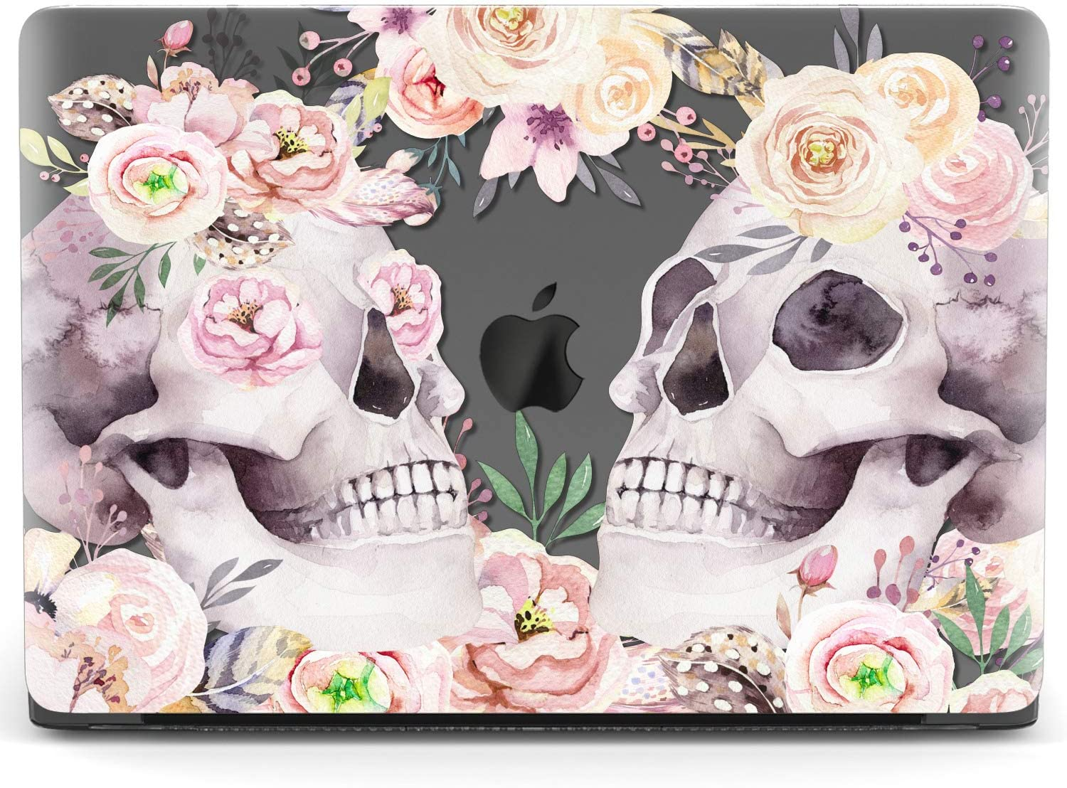 Mertak Hard Case for Apple MacBook Pro 16 Air 13 inch Mac 15 Retina 12 11 2020 2019 2018 2017 Laptop Roses Boho Peony Clear Blossom Print Cover Skeleton Design Touch Bar Skull Protective Floral