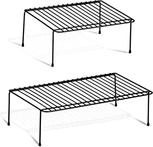DecorRack 2 Counter and Cabinet Shelf Racks, Kitchen Storage Organizer, Steel Metal Wire Shelves for Pantry, Closet and Freezer 17.5 x 10 x 5.25 and 12.5 x 10 x 5.25 inch (Set of 2)