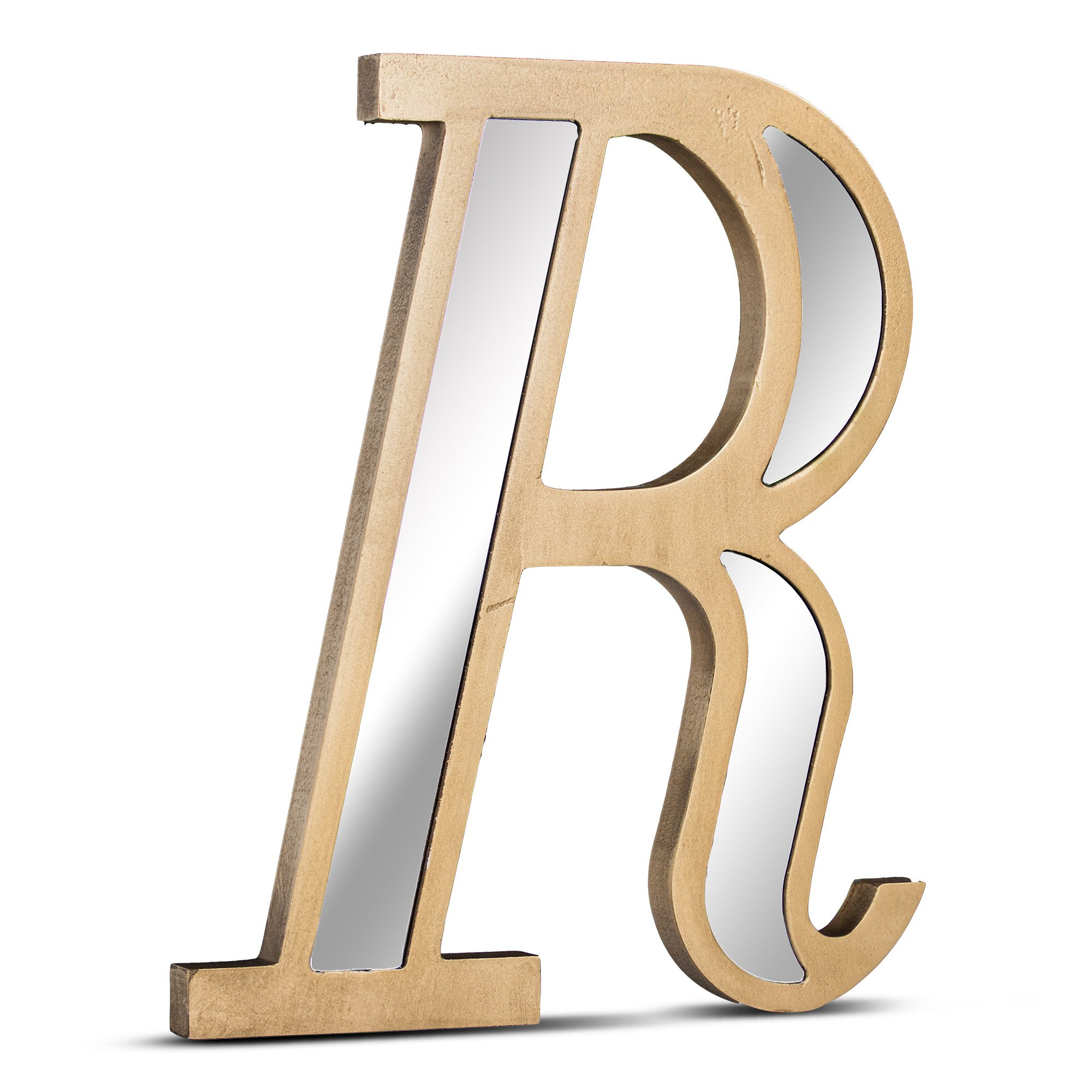 Millennium Art Letter R Acrylic Mirror Rustic Golden Hanging Wall Decorative Initial Cutout for Nursery Room, Baby's Name, Kid's Room, Living Room and Bedroom Home Decor