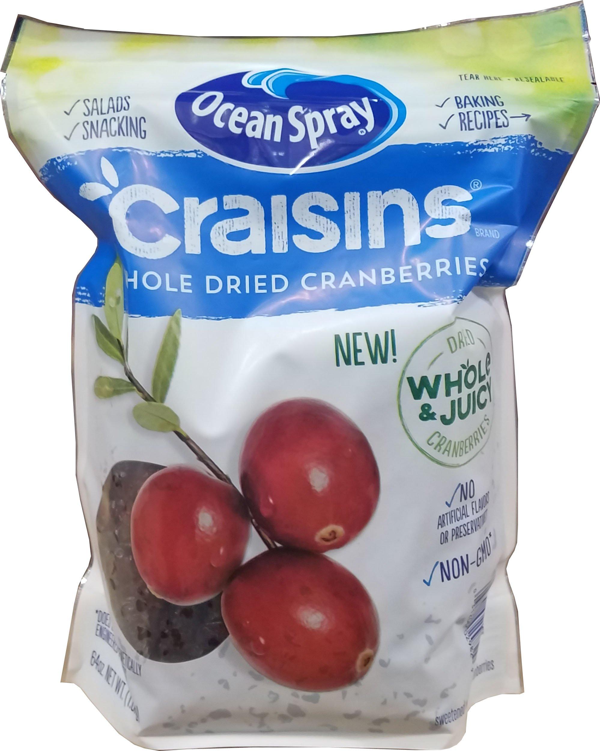 Ocean Spray Craisins Whole & Juicy Dried Cranberries Non-GMO 64 Oz.