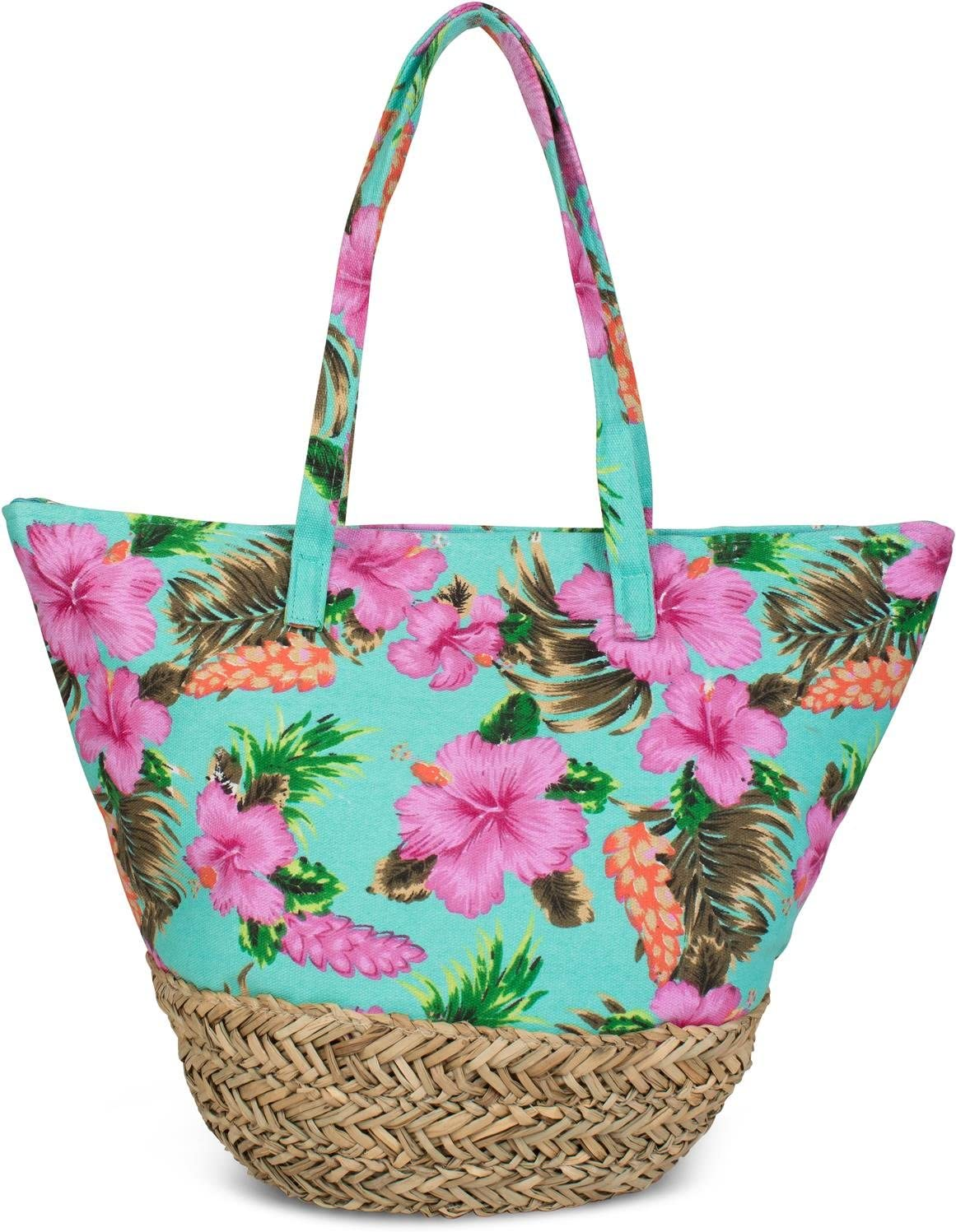 styleBREAKER Bolso para la Playa con un Colorido Estampado de hibiscos, Rafia en la Base y Cremallera, Bolso de Hombro, Bolso de Tipo «Shopper», señora 02012233, Color:Turquesa