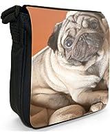 Pug Dog Sat On Blanket Small Black Canvas Shoulder Bag / Handbag