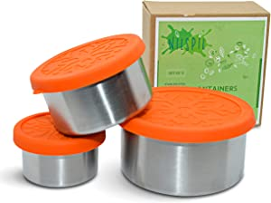 Stainless Steel Food Containers | Plastic-Free Lunch/Snack containers with Leak-proof Silicone Lids | For Baby food, Salad Dressing Container to go, Portion Control, Food Prep & Storing[Set of 3]