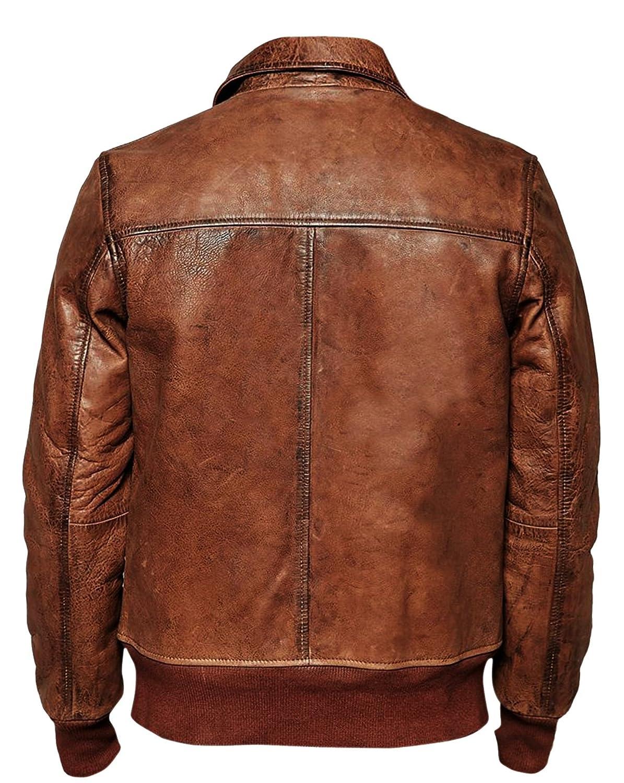 Superior Leather Garments Mens Biker Vintage Distressed Brown Bomber Winter Leather Jacket