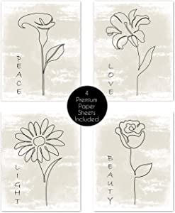 Boho Minimalist Flower Line Art Tan Neutral Watercolor Abstract Farmhouse Positive Wall Art Posters Home Living Room Decor Simple Aesthetic Rose Daisy Wildflower Peace Love Pictures Prints Bedroom