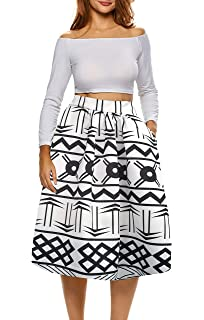 7b0c8e0e8d Afibi African Print Skirts for Women Boho Plus Size Flare Pleated Skirts