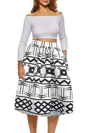 2921f78bd2 Amazon.com: Afibi African Print Skirts for Women Boho Plus Size Flare  Pleated Skirts: Clothing