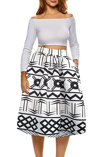 b3cb198b778 Afibi African Print Skirts for Women Boho Plus Size Flare Pleated Skirts  (Small