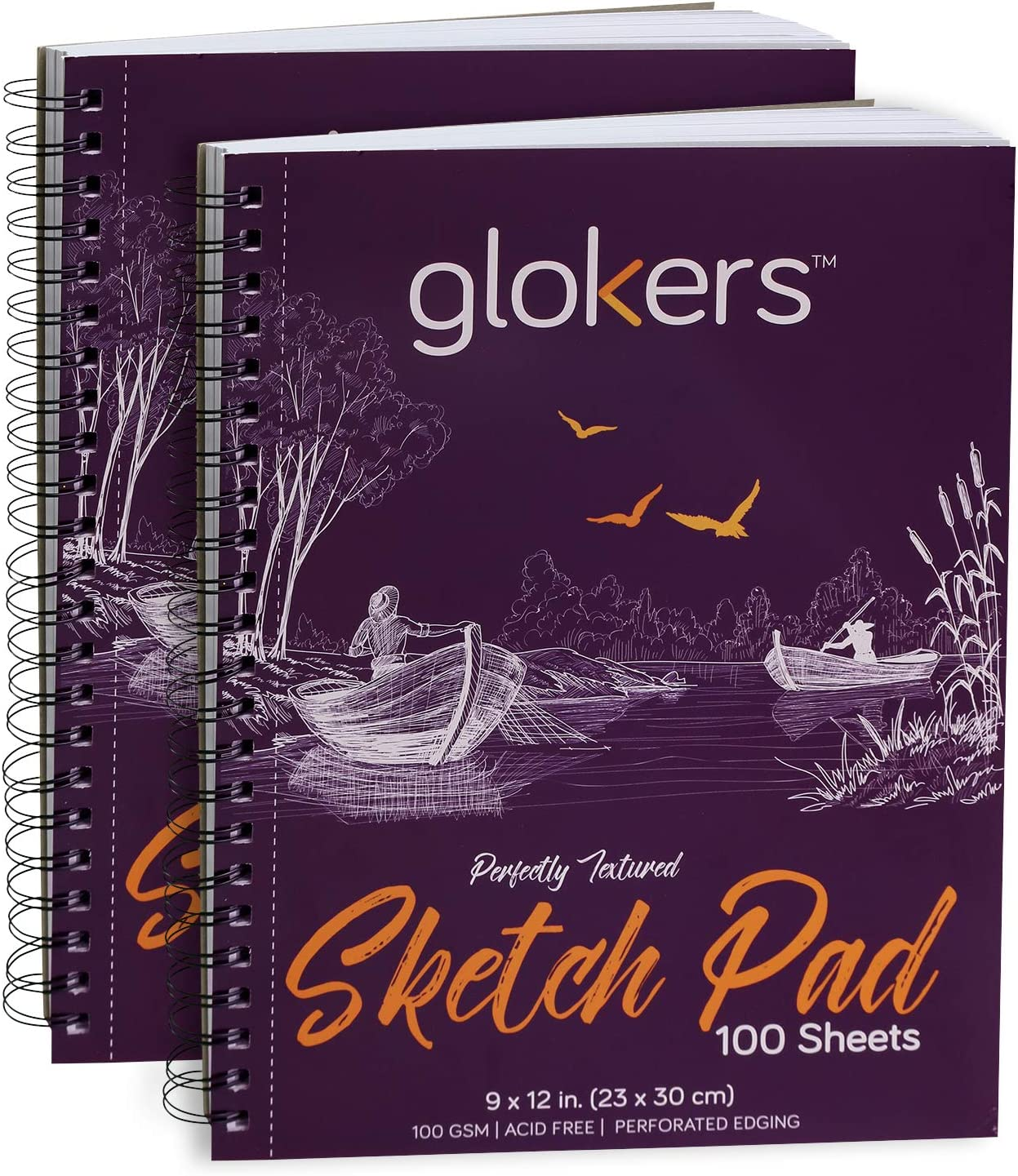 glokers Sketch Book - 2 Pack - 100 Sheets Each Sketch Pad - Acid Free, Medium Weight Paper – for Pencils, Charcoal, Oil Pastels, and Other Dry Media – Extra Durable Spiral Binding - 9X12 Inch Paper