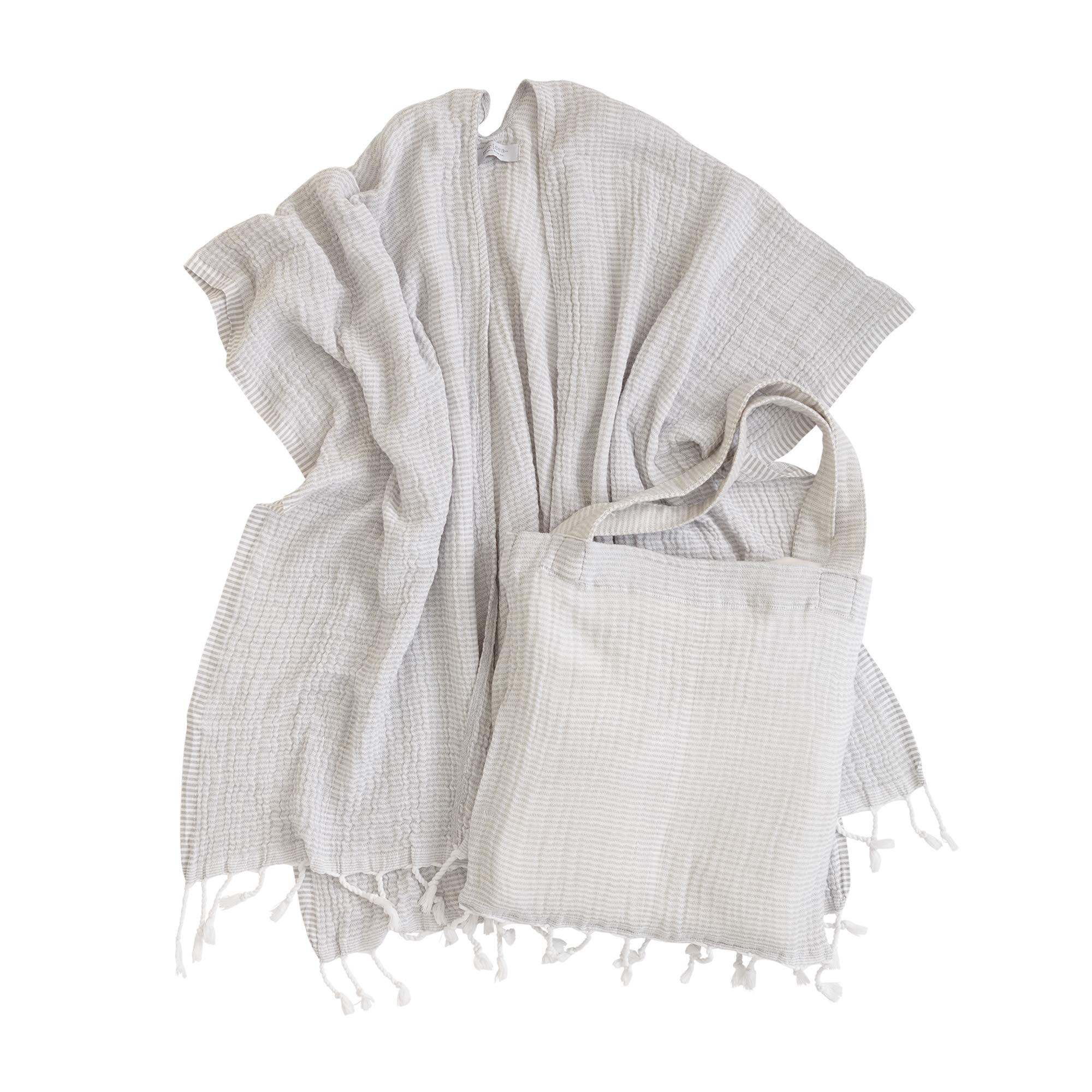 Mer Sea & Co Luxury Beach Wrap with Tote Bag - Light Grey Stripes - 100% Cotton (43'' x 65'')