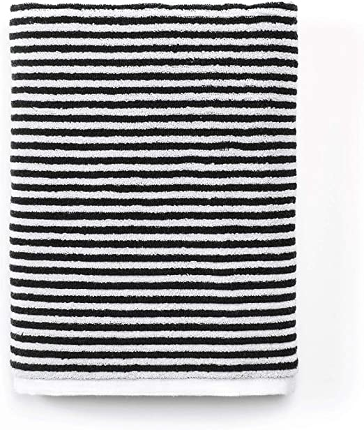Amazon.com: Calvin Klein Home Donald, Bath Towel, White/Black ...