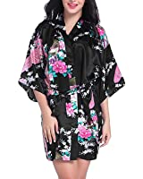 Hammia Women's Bridesmaid Robes Short Peacock Blossoms Kimono Robe Dressing Gown Floral Robes