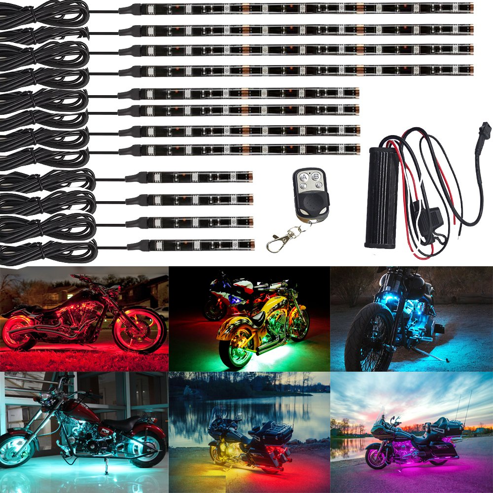 NBWDY 12Pcs Vehicle Motorcycle LED Light Kit Strips Multi-Color Accent Glow Lighting Neon Lights Lamp Flexible with Remote JINXIU
