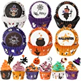 Homyplaza 150 PCS Halloween Cupcake Case Liners Holders Toppers Wrappers Disposable Baking Cups Muffin Liners for Halloween P