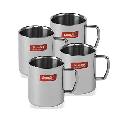 9406921e799 Image Unavailable. Image not available for. Colour: Sumeet Stainless Steel Double  Wall Tea and Coffee Medium Mug ...