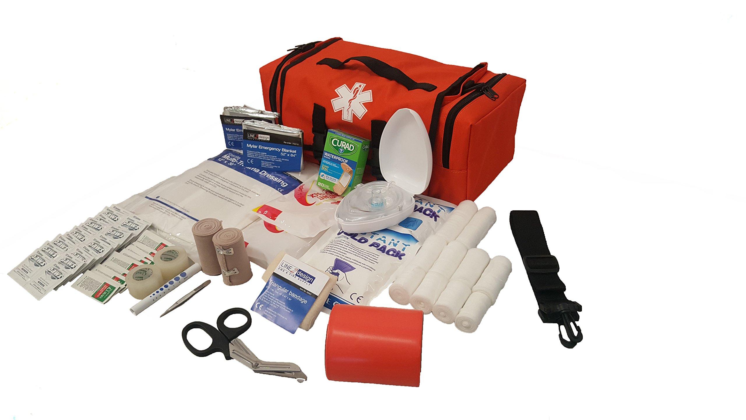LINE2design EMS Emergency Fire Responder Rescue Trauma First Aid Kit Bag - Economic Lifeguard - EMT - Paramedic - Orange