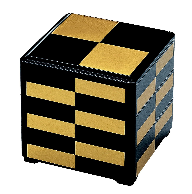若泉漆器の3段重箱黒金市松