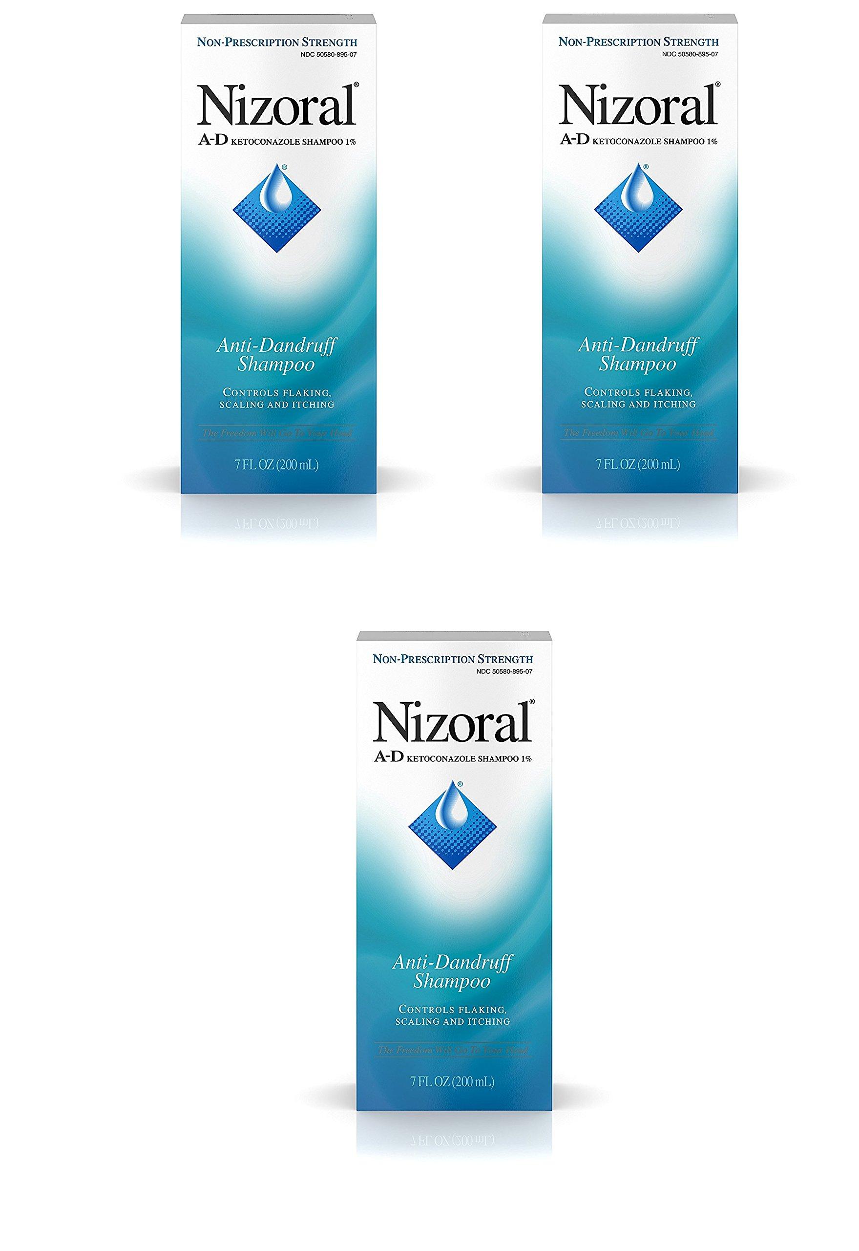 Nizoral A-D Anti-Dandruff Shampoo, 7 Fl. Oz (3 Pack) by Nizoral