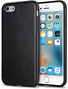 TENDLIN iPhone 6s Plus Case Leather Back Flexible TPU Silicone Hybrid Slim Case for iPhone 6 Plus and iPhone 6s Plus (Black)