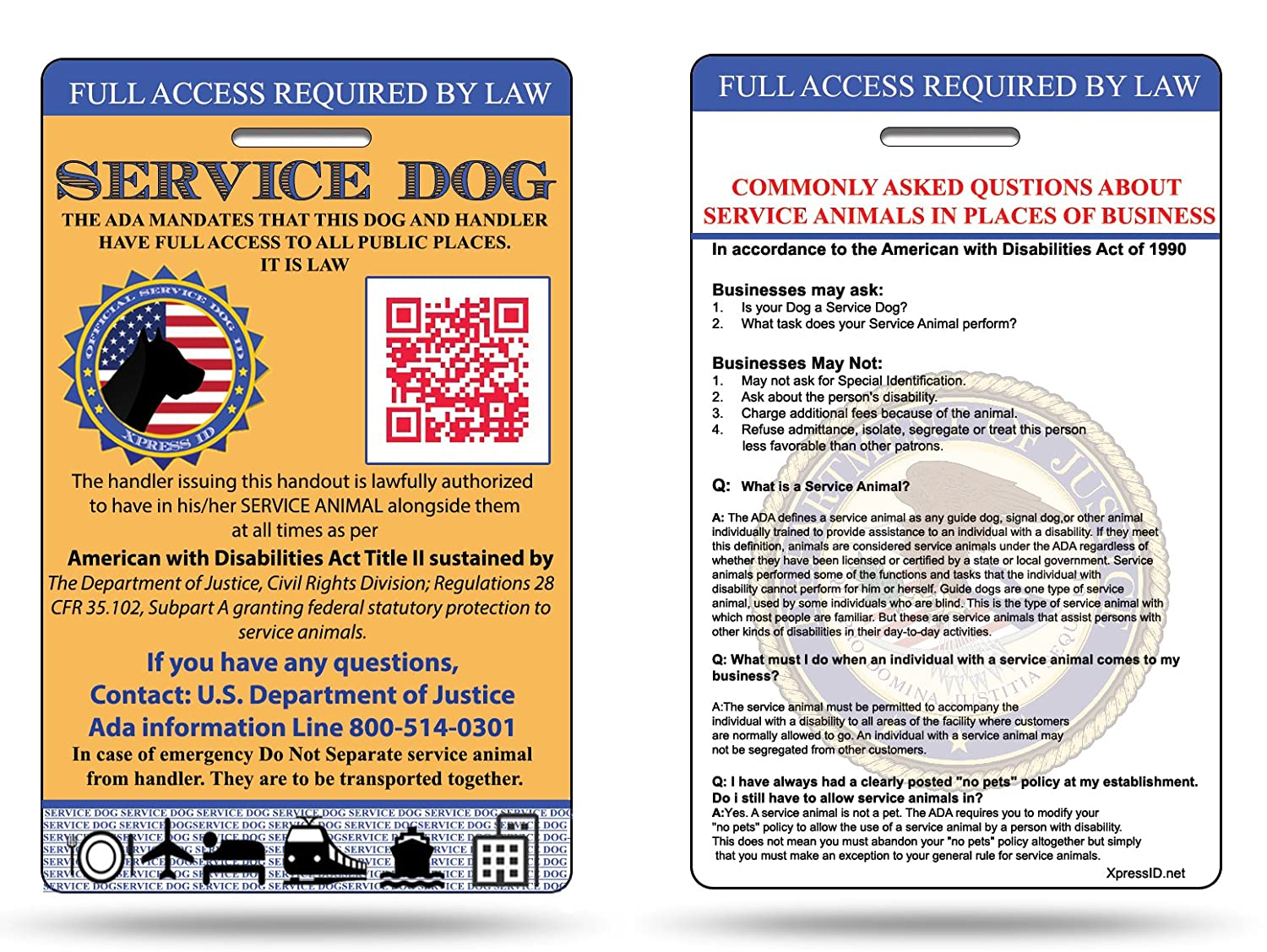 Amazon xpressid service dog id card includes registration amazon xpressid service dog id card includes registration to national dog registry pet supplies 1betcityfo Images