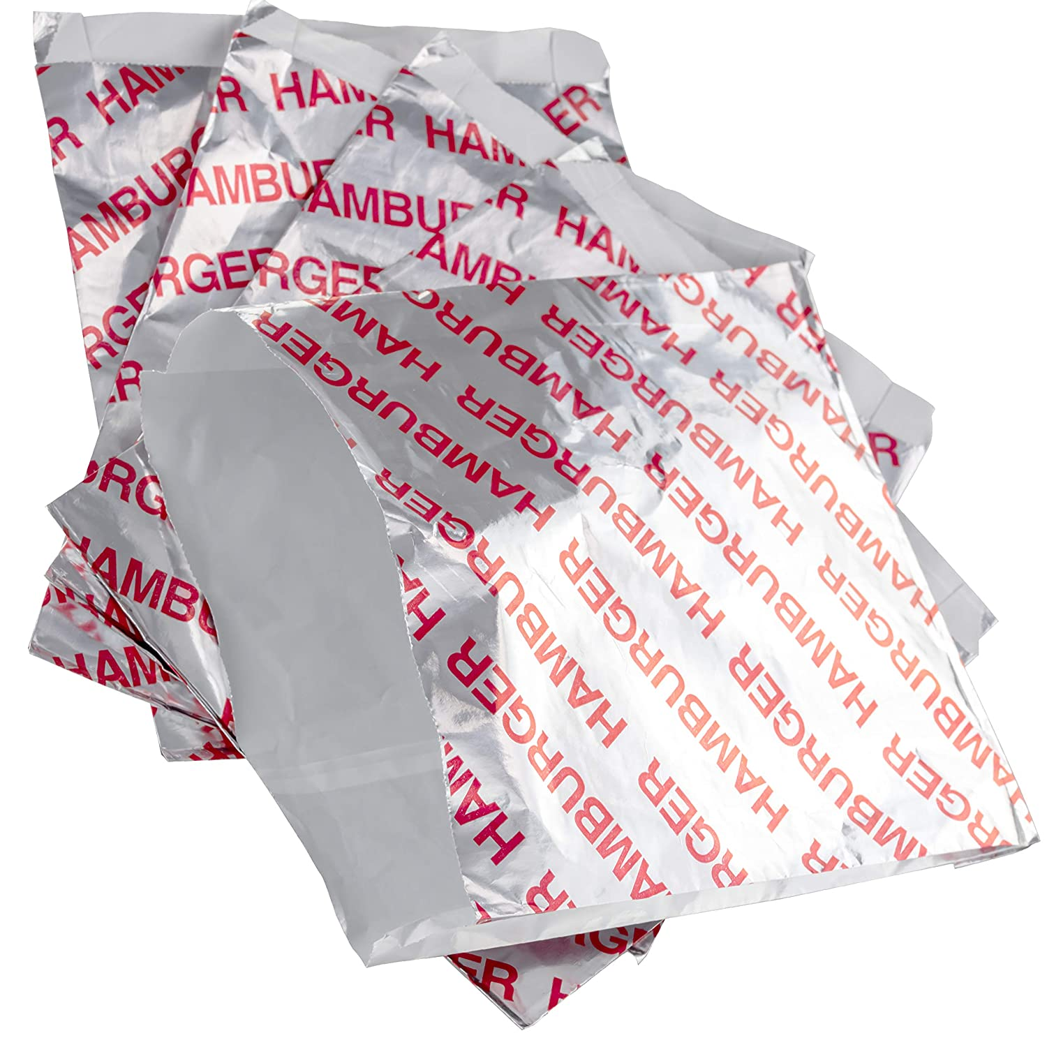 Retro, Grease Proof Burger Wrappers 50 Pk. Great BPA Free Cookout Supply. Pro Quality Bulk Hamburger Bags Are Large and Insulated. Allergen Friendly BBQ Foil Paper Perfect For Baseball Themed Party.