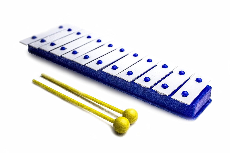 ProKussion Blue 12 Key Glockenspiel Xylophone with Metal Keys & 2 Free Beaters Blue12V