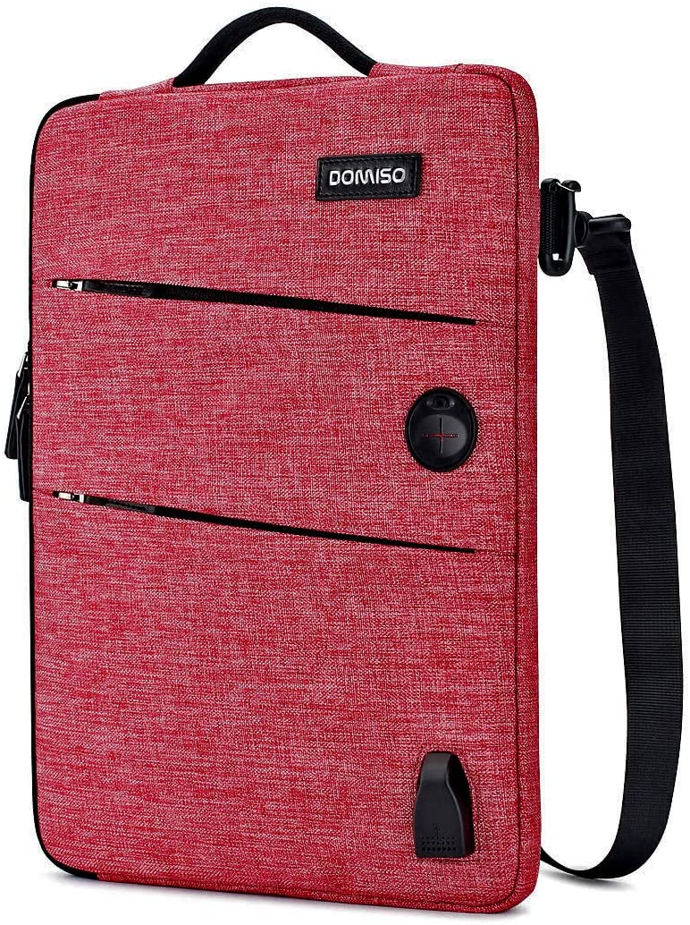 """DOMISO 15.6 Inch Waterproof Laptop Sleeve Canvas with USB Charging Port Headphone Hole for 15.6"""" Laptops/Apple/Lenovo IdeaPad/Acer Aspire E15 / HP Envy 15 / Dell/ASUS, Red"""