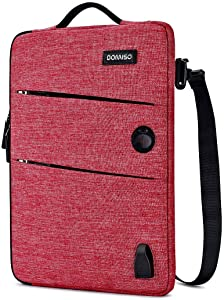 "DOMISO 14 Inch Waterproof Laptop Sleeve Canvas with USB Charging Port Headphone Hole for 14"" Laptops/Apple/Acer Chromebook 14 / HP Pavilion 14 Stream 14 / Lenovo/Dell/ASUS/MSI, Red"