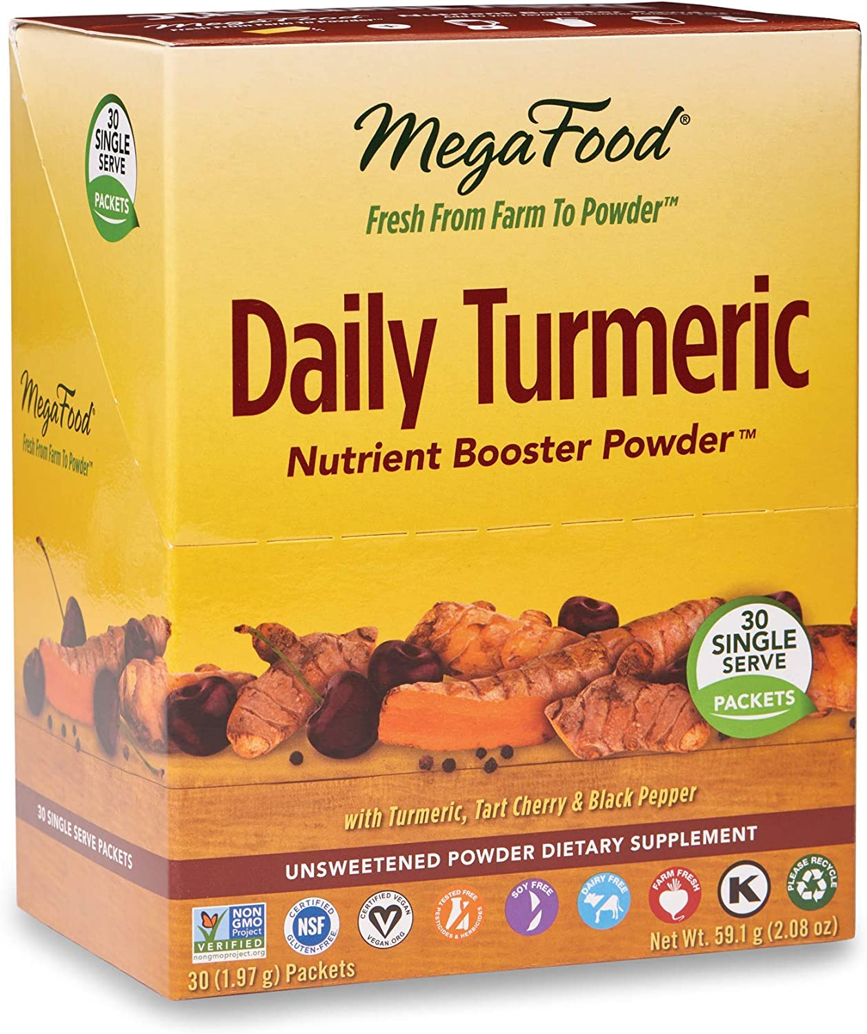 MegaFood - Daily Turmeric Booster Powder, Promotes Healthy Stress and Inflammatory Response with Tart Cherry and Holy Basil Leaf, Vegan, Gluten-Free, Non-GMO, 30 Singles