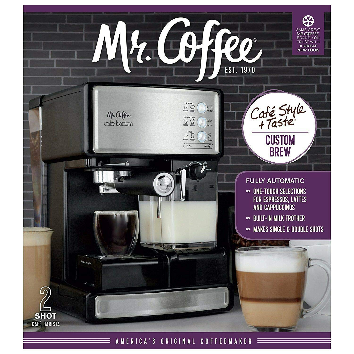 Espresso Maker Coffee Machine Mr. Barista Cafe Cappuccino Latte with Automatic Milk Frother by WealthyPlaza