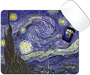 Starry Night Police Box Mouse Pad